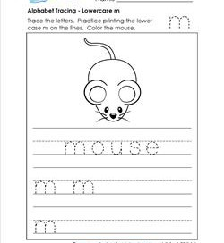 alphabet tracing - lowercase m