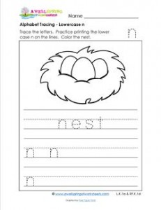 alphabet tracing lowercase n with a nest. Black Bedroom Furniture Sets. Home Design Ideas
