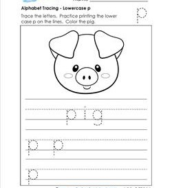alphabet tracing - lowercase p