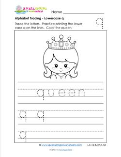 alphabet tracing - lowercase q