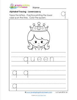 alphabet tracing - lowercase q