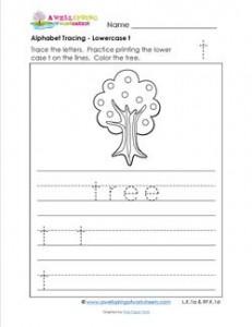 alphabet tracing - lowercase t
