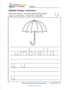 alphabet tracing - lowercase u