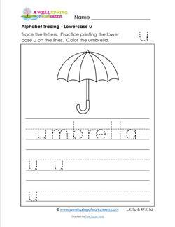 alphabet tracing - lowercase u