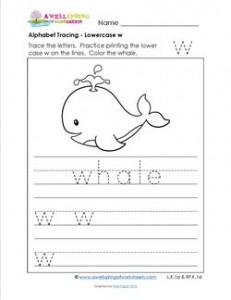 alphabet tracing - lowercase w