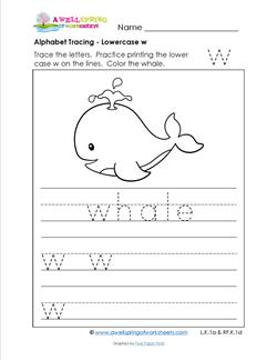 alphabet tracing - lowercase w