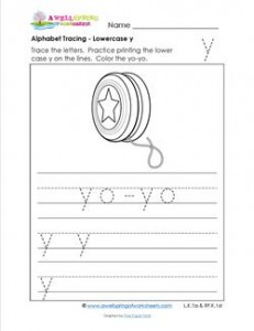 alphabet tracing - lowercase y