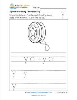alphabet tracing - lowercase y
