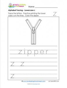 alphabet tracing - lowercase z