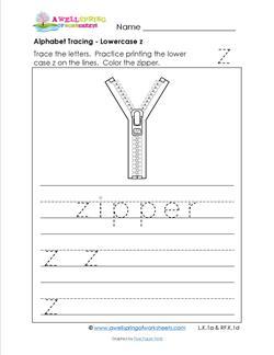 alphabet tracing - lowercase z