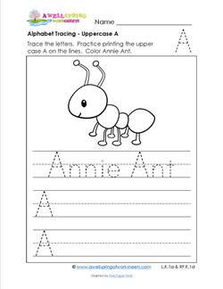 Alphabet Tracing - Uppercase A - Annie Ant - Printing Practice Worksheets