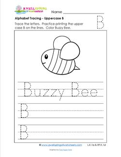 Alphabet Tracing - Uppercase B - Buzzy Bee - Printing Practice Worksheets