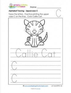 Alphabet Tracing - Uppercase C - Callie Cat - Printing Practice Worksheets