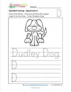 Alphabet Tracing - Uppercase D - Dudley Dog - Printing Practice Worksheets