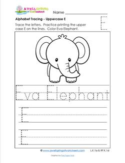 Alphabet Tracing - Uppercase E - Eva Elephant - Printing Practice Worksheets