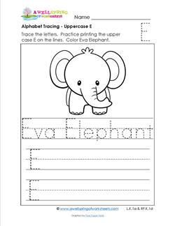 Alphabet Tracing - Uppercase E - Eva Elephant - Printing Practice Worksheets
