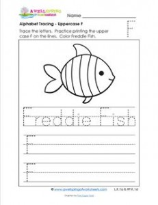Alphabet Tracing - Uppercase F - Freddie Fish - Printing Practice Worksheets