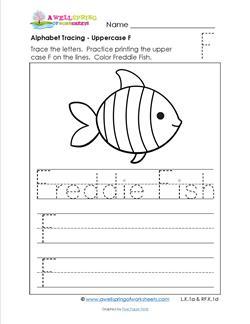 Alphabet Tracing - Uppercase F - Freddie Fish - Printing Practice Worksheets
