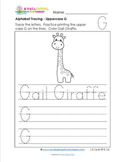 Alphabet Tracing - Uppercase G - Gail Giraffe - Printing Practice Worksheets