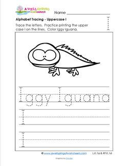 Alphabet Tracing - Uppercase I - Iggy Iguana - Printing Practice Worksheets