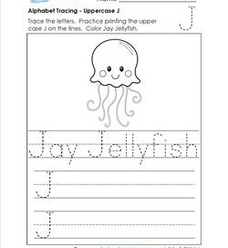 Alphabet Tracing - Uppercase J - Jay Jellyfish - Printing Practice Worksheets