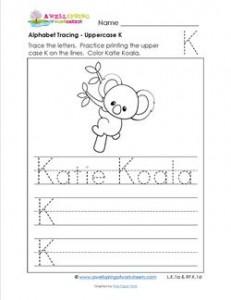 Alphabet Tracing - Uppercase K - Katie Koala - Printing Practice Worksheets