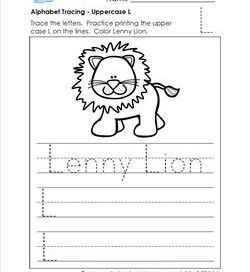 Alphabet Tracing - Uppercase L - Lenny Lion - Printing Practice Worksheets