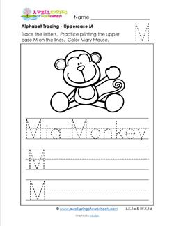 Alphabet Tracing - Uppercase M - Mia Monkey - Printing Practice Worksheets