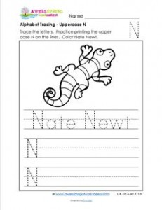 Alphabet Tracing - Uppercase N - Nate Newt - Printing Practice Worksheets