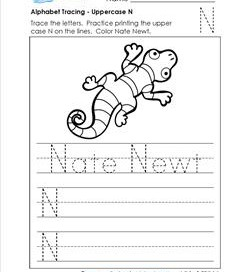 Alphabet Tracing - Uppercase N - Nate Newt - Printing Practice Worksheets