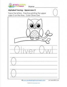 Alphabet Tracing - Uppercase O - Oliver Owl - Printing Practice Worksheets
