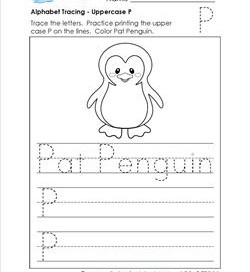 Alphabet Tracing - Uppercase P - Pat Penguin - Printing Practice Worksheets