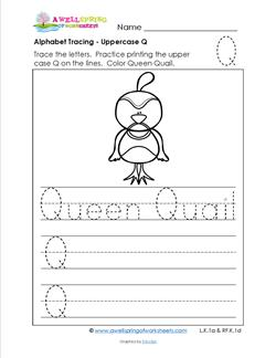 Alphabet Tracing - Uppercase Q - Queen Quail - Printing Practice Worksheets