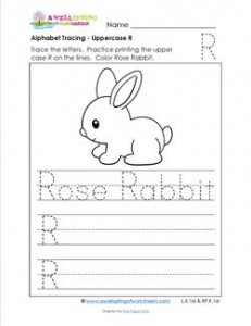 Alphabet Tracing - Uppercase R - Rose Rabbit - Printing Practice Worksheets