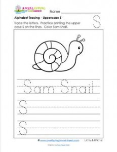 Alphabet Tracing - Uppercase S - Sam Snail - Printing Practice Worksheets