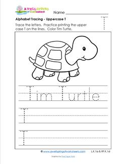 Alphabet Tracing - Uppercase T - Tim Turtle - Printing Practice Worksheets