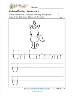 Alphabet Tracing - Uppercase U - Uri Unicorn - Printing Practice Worksheets