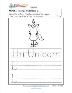 Alphabet Tracing - Uppercase U - Uri Unicorn - Printing Practice Worksheets