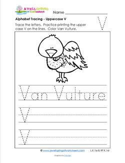 Alphabet Tracing - Uppercase V - Van Vulture - Printing Practice Worksheets