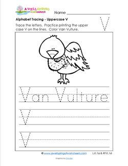 Alphabet Tracing - Uppercase V - Van Vulture - Printing Practice Worksheets