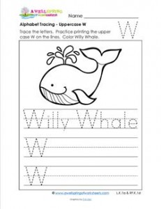 Alphabet Tracing - Uppercase W - Willy Whale - Printing Practice Worksheets