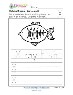 Alphabet Tracing - Uppercase X - X-Ray Fish - Printing Practice Worksheets