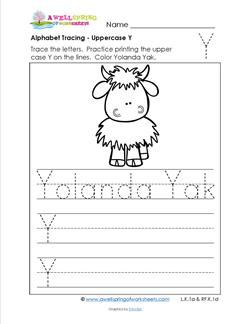Alphabet Tracing - Uppercase Y - Yolanda Yak - Printing Practice Worksheets