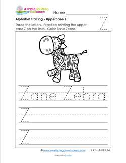 Alphabet Tracing - Uppercase Z - Zane Zebra - Printing Practice Worksheets