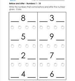 Before and After - Numbers 1-10 - Positional Words Worksheets