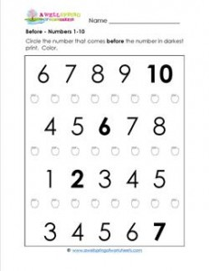Before - Numbers 1-10 - Positional Words Worksheets