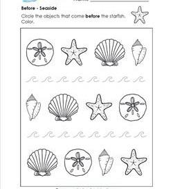 Before - Seaside - Positional Words Worksheets