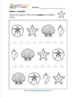 Before - Seaside - Positional Words Worksheets