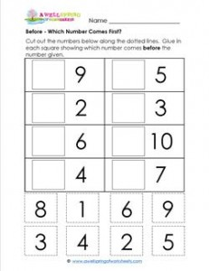Before - Which Number Comes First? - Positional Words Worksheets