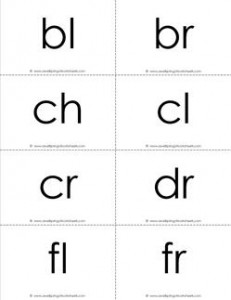 beginning consonant blends flashcards - b-w
